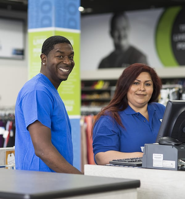 Employees working at Goodwill retail store